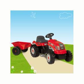 Tractor A Pedales Gm Bull Con Remolque Rojo Smoby