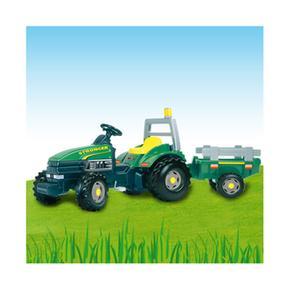 Tractor A Pedales Stronger Con Remolque Verde Smoby