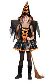Disfraz Infantil Bruja Alada Naranja Talla L