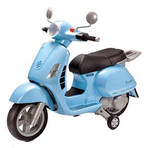 Vespa With Motor Blue