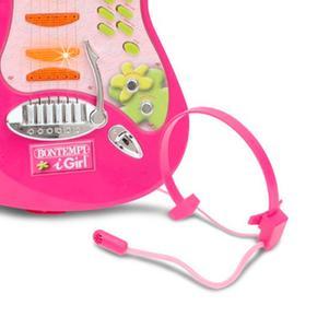 Guitarra Rock Electrónica Y Micrófono Casco Rosa 3ALqj5R4
