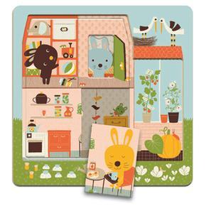 Puzzle 3 Pisos Casita Conejos