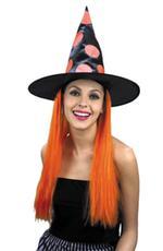 Sombrero Bruja Con Pelo Naranja