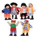 Set De 6  Muñecos Piratas De Madera