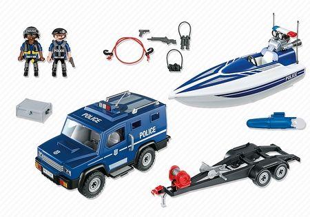 Furgón de policía de Playmobil con lancha